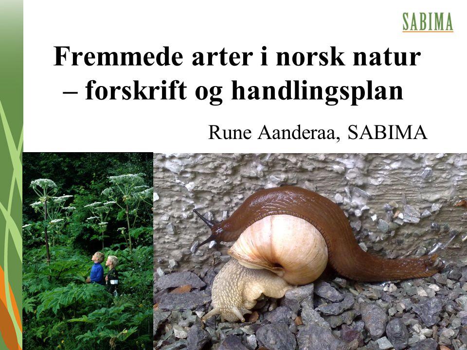 Fremmede arter i norsk natur – forskrift og handlingsplan Rune Aanderaa, SABIMA