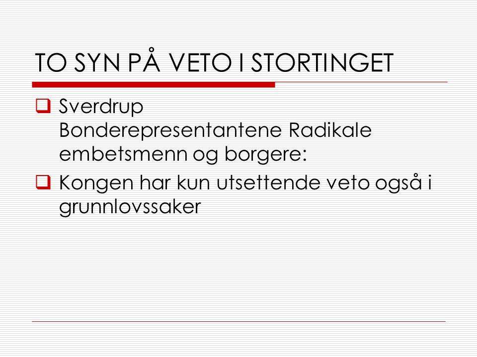 TO SYN PÅ VETO I STORTINGET  Sverdrup Bonderepresentantene Radikale embetsmenn og borgere:  Kongen har kun utsettende veto også i grunnlovssaker