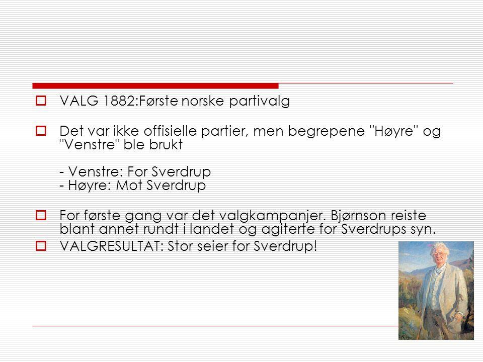  VALG 1882:Første norske partivalg  Det var ikke offisielle partier, men begrepene Høyre og Venstre ble brukt - Venstre: For Sverdrup - Høyre: Mot Sverdrup  For første gang var det valgkampanjer.