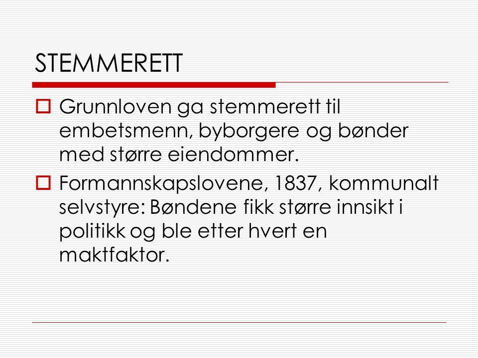 STEMMERETT  Grunnloven ga stemmerett til embetsmenn, byborgere og bønder med større eiendommer.