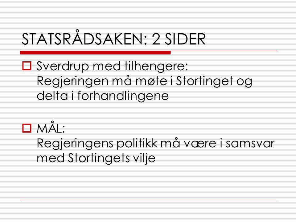 STATSRÅDSAKEN: 2 SIDER  Sverdrup med tilhengere: Regjeringen må møte i Stortinget og delta i forhandlingene  MÅL: Regjeringens politikk må være i samsvar med Stortingets vilje