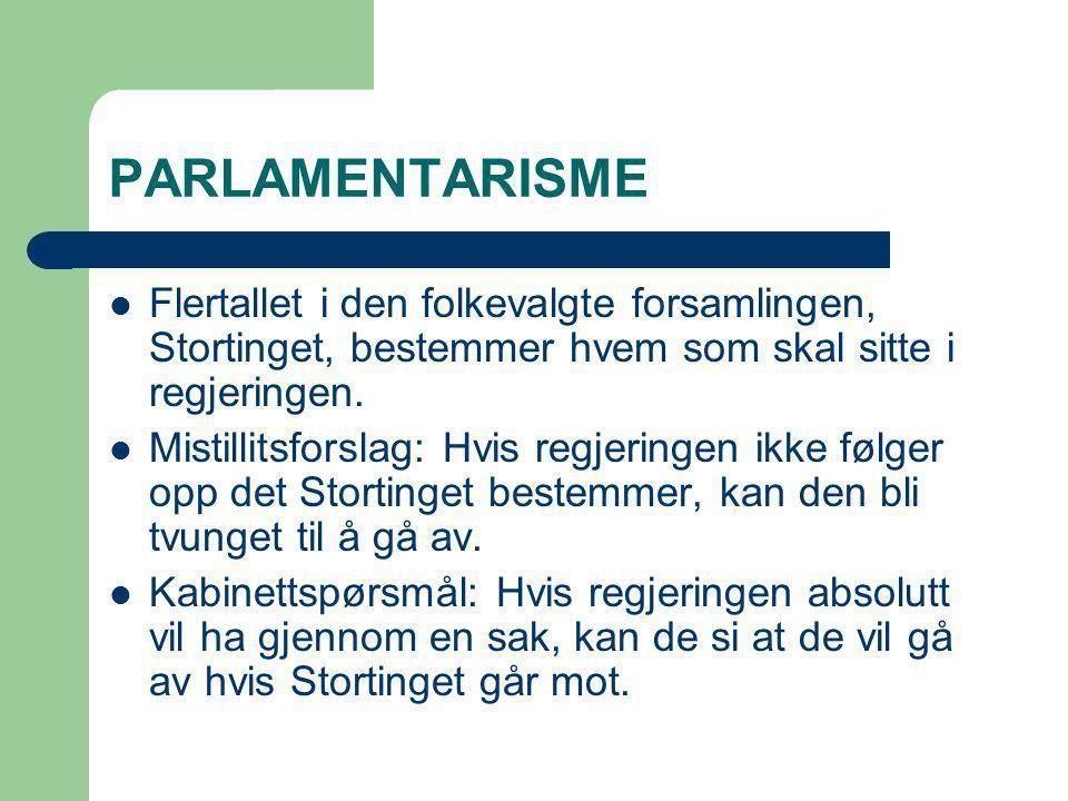 PARLAMENTARISME Flertallet i den folkevalgte forsamlingen, Stortinget, bestemmer hvem som skal sitte i regjeringen. Mistillitsforslag: Hvis regjeringe