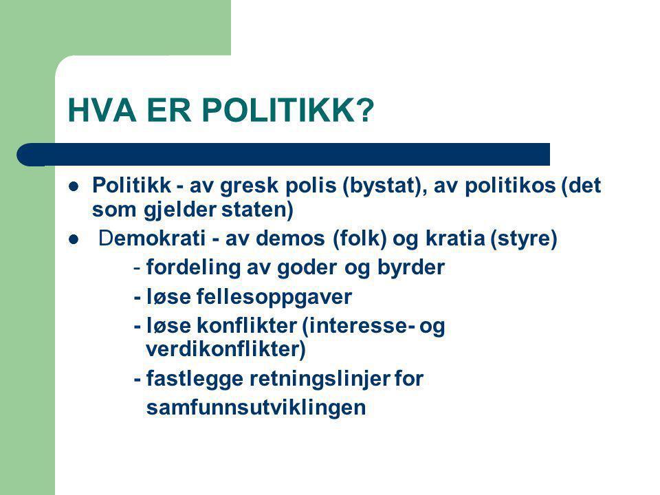 HVA ER POLITIKK? Politikk - av gresk polis (bystat), av politikos (det som gjelder staten) Demokrati - av demos (folk) og kratia (styre) - fordeling a