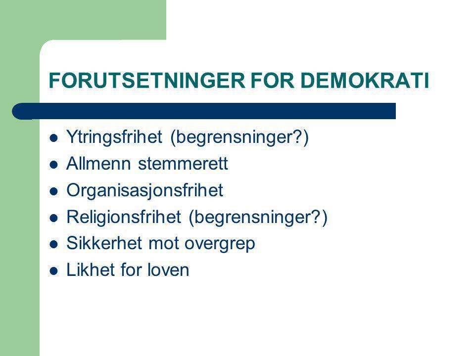 FORUTSETNINGER FOR DEMOKRATI Ytringsfrihet (begrensninger?) Allmenn stemmerett Organisasjonsfrihet Religionsfrihet (begrensninger?) Sikkerhet mot over