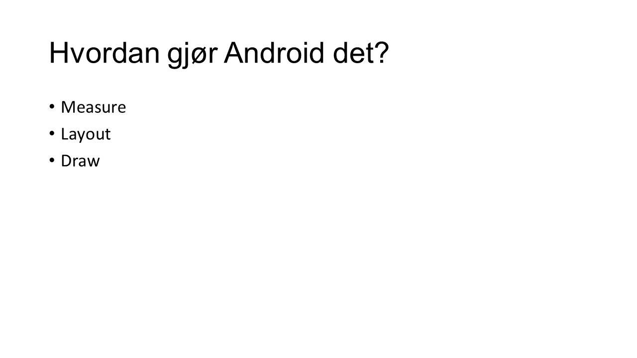 Hvordan gjør Android det? Measure Layout Draw