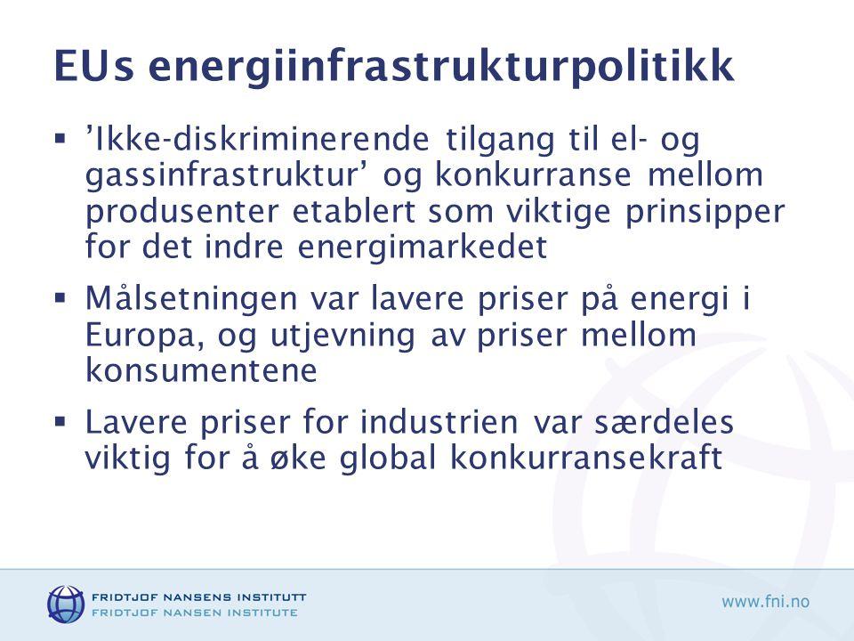 EUs energiinfrastrukturpolitikk  'Ikke-diskriminerende tilgang til el- og gassinfrastruktur' og konkurranse mellom produsenter etablert som viktige prinsipper for det indre energimarkedet  Målsetningen var lavere priser på energi i Europa, og utjevning av priser mellom konsumentene  Lavere priser for industrien var særdeles viktig for å øke global konkurransekraft