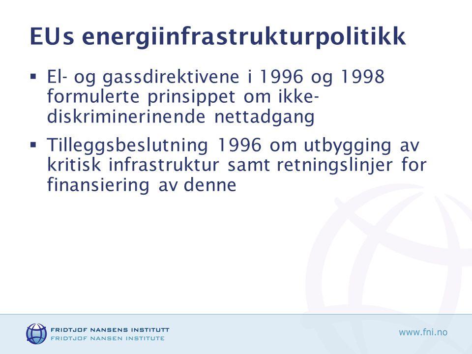 EUs energiinfrastrukturpolitikk  El- og gassdirektivene i 1996 og 1998 formulerte prinsippet om ikke- diskriminerinende nettadgang  Tilleggsbeslutning 1996 om utbygging av kritisk infrastruktur samt retningslinjer for finansiering av denne