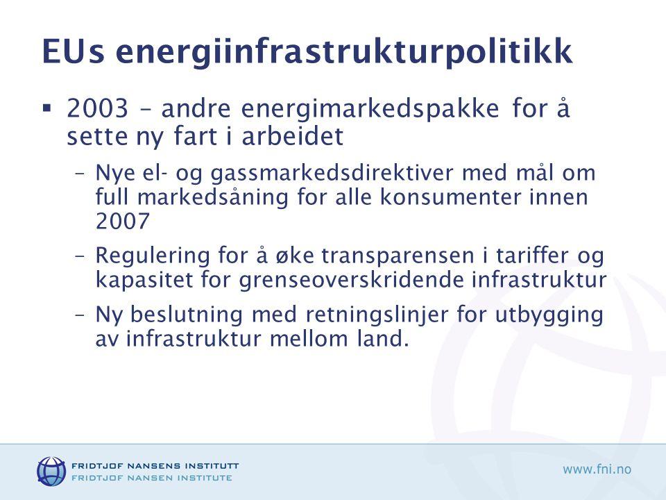 EUs energiinfrastrukturpolitikk  2003 – andre energimarkedspakke for å sette ny fart i arbeidet –Nye el- og gassmarkedsdirektiver med mål om full markedsåning for alle konsumenter innen 2007 –Regulering for å øke transparensen i tariffer og kapasitet for grenseoverskridende infrastruktur –Ny beslutning med retningslinjer for utbygging av infrastruktur mellom land.