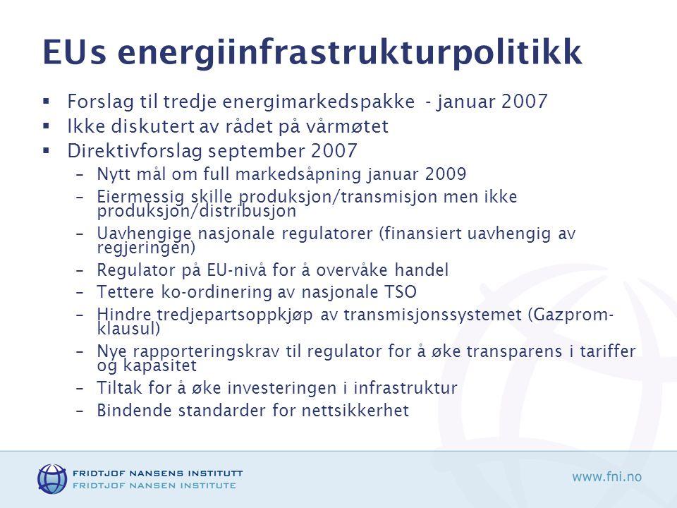 EUs energiinfrastrukturpolitikk  Forslag til tredje energimarkedspakke - januar 2007  Ikke diskutert av rådet på vårmøtet  Direktivforslag september 2007 –Nytt mål om full markedsåpning januar 2009 –Eiermessig skille produksjon/transmisjon men ikke produksjon/distribusjon –Uavhengige nasjonale regulatorer (finansiert uavhengig av regjeringen) –Regulator på EU-nivå for å overvåke handel –Tettere ko-ordinering av nasjonale TSO –Hindre tredjepartsoppkjøp av transmisjonssystemet (Gazprom- klausul) –Nye rapporteringskrav til regulator for å øke transparens i tariffer og kapasitet –Tiltak for å øke investeringen i infrastruktur –Bindende standarder for nettsikkerhet