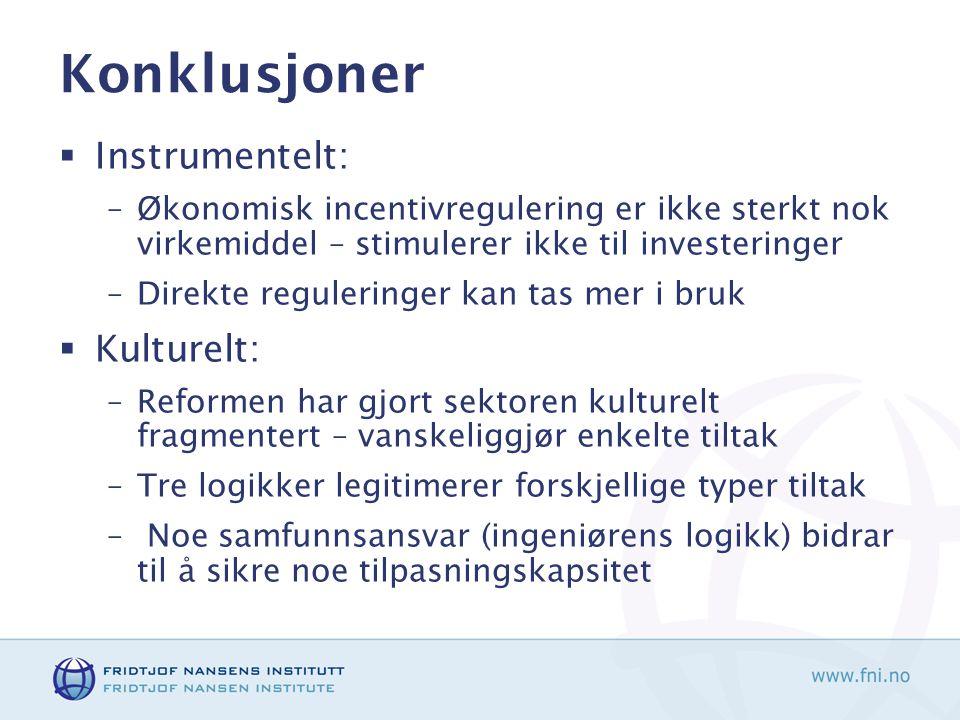 Konklusjoner  Instrumentelt: –Økonomisk incentivregulering er ikke sterkt nok virkemiddel – stimulerer ikke til investeringer –Direkte reguleringer k