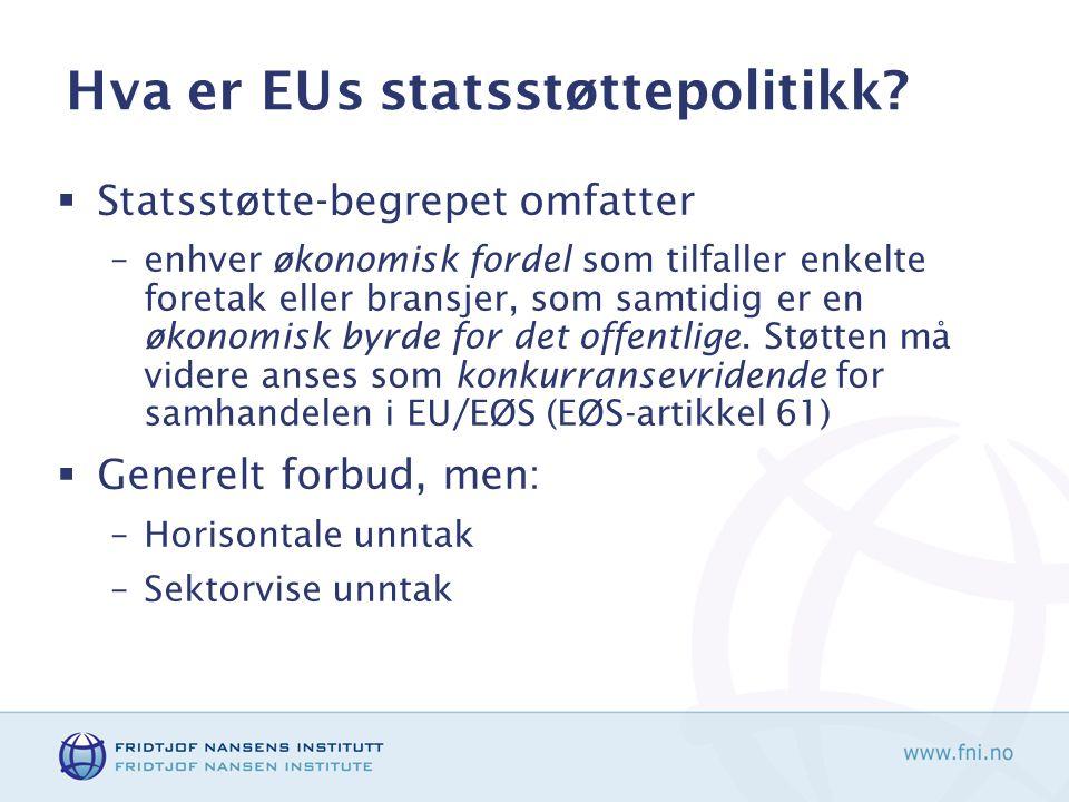 Hva er EUs statsstøttepolitikk.