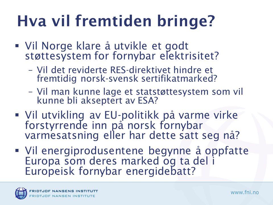 Hva vil fremtiden bringe?  Vil Norge klare å utvikle et godt støttesystem for fornybar elektrisitet? –Vil det reviderte RES-direktivet hindre et frem