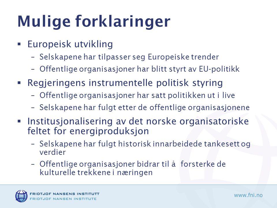 Mulige forklaringer  Europeisk utvikling –Selskapene har tilpasser seg Europeiske trender –Offentlige organisasjoner har blitt styrt av EU-politikk 
