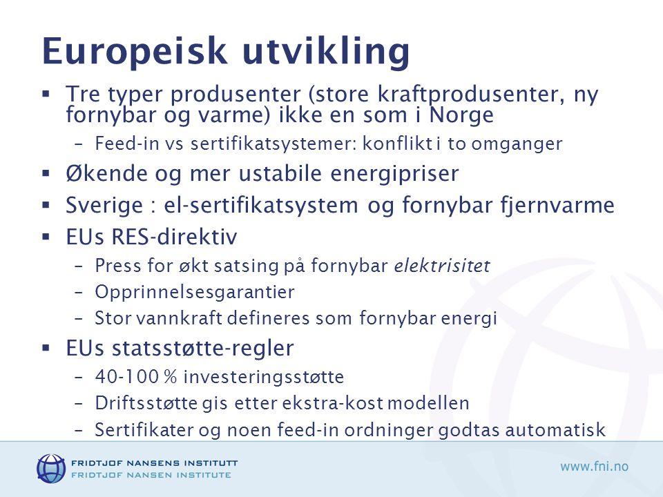 Europeisk utvikling  Tre typer produsenter (store kraftprodusenter, ny fornybar og varme) ikke en som i Norge –Feed-in vs sertifikatsystemer: konflik