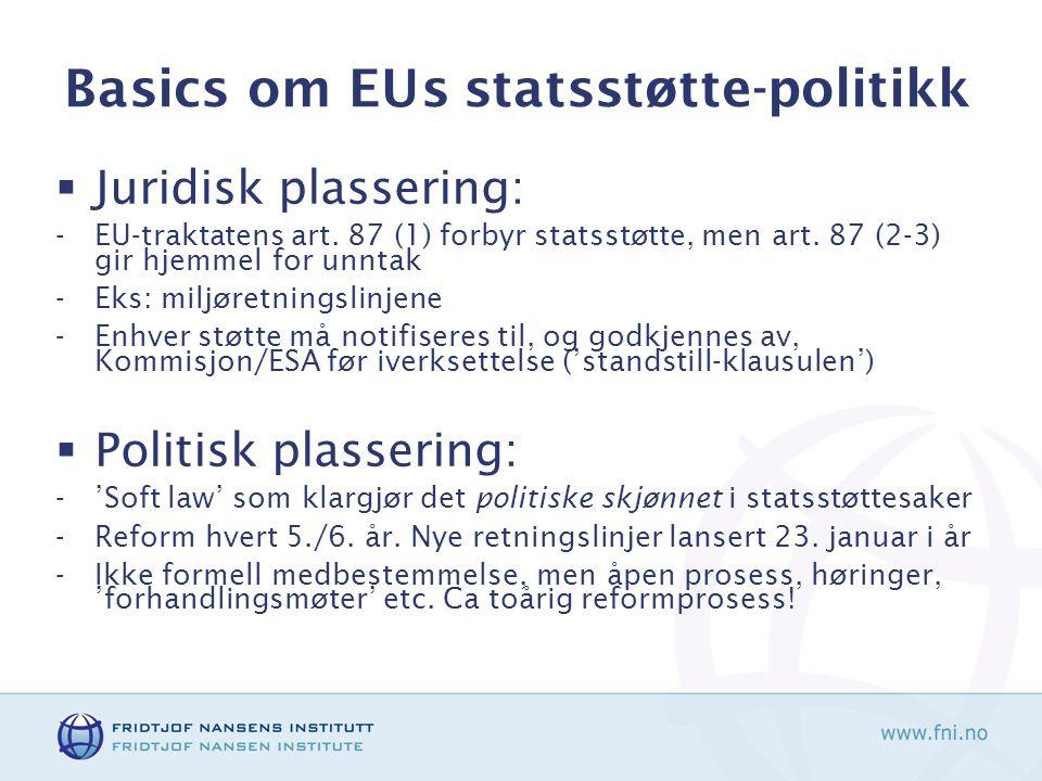 Basics om EUs statsstøtte-politikk  Juridisk plassering: -EU-traktatens art.