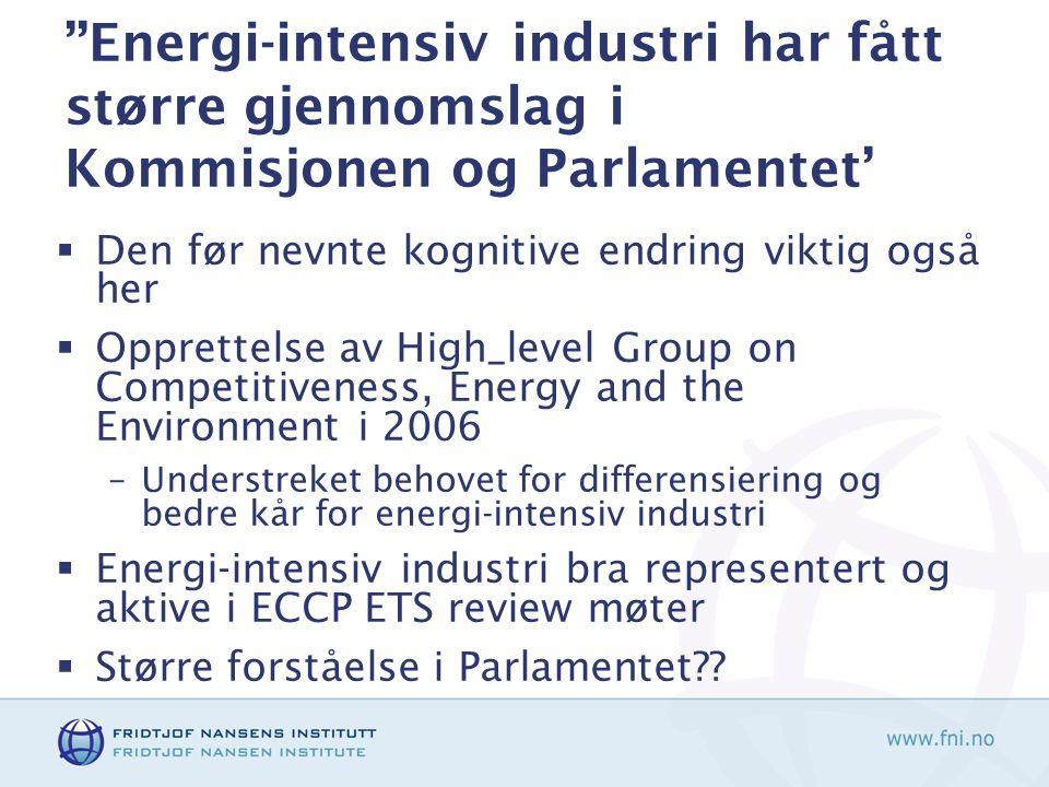 ''Energi-intensiv industri har fått større gjennomslag i Kommisjonen og Parlamentet'  Den før nevnte kognitive endring viktig også her  Opprettelse