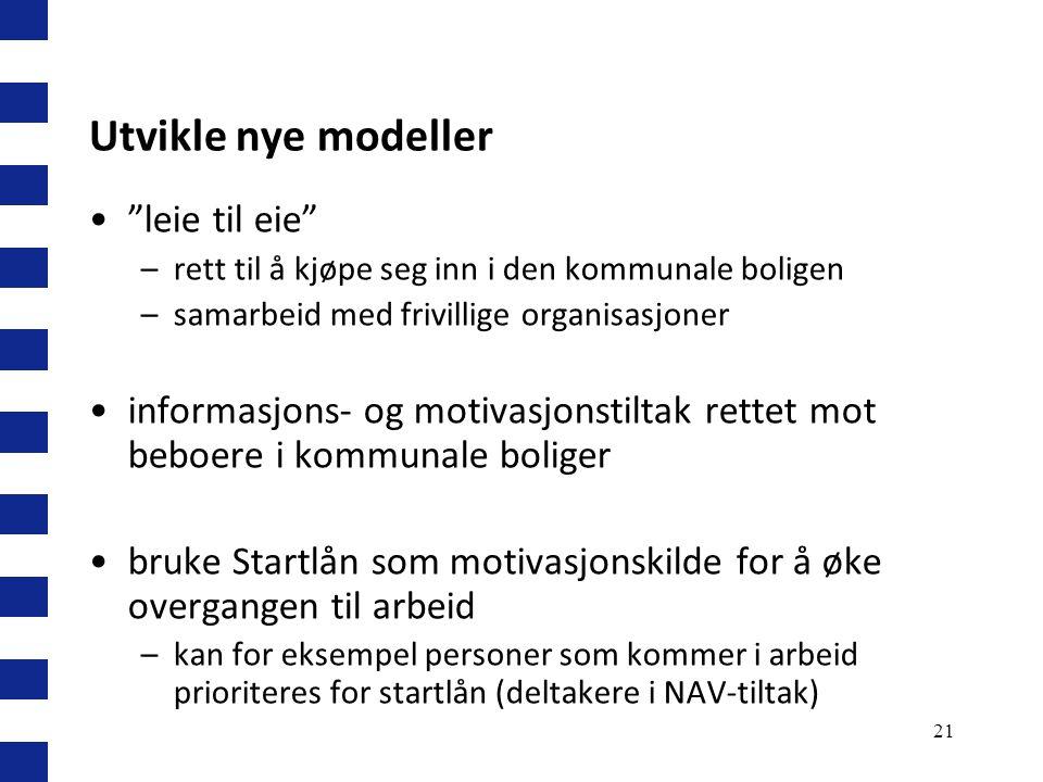 """21 Utvikle nye modeller """"leie til eie"""" –rett til å kjøpe seg inn i den kommunale boligen –samarbeid med frivillige organisasjoner informasjons- og mot"""