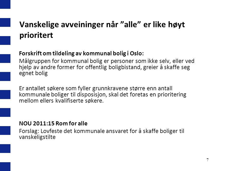 """7 Vanskelige avveininger når """"alle"""" er like høyt prioritert Forskrift om tildeling av kommunal bolig i Oslo: Målgruppen for kommunal bolig er personer"""