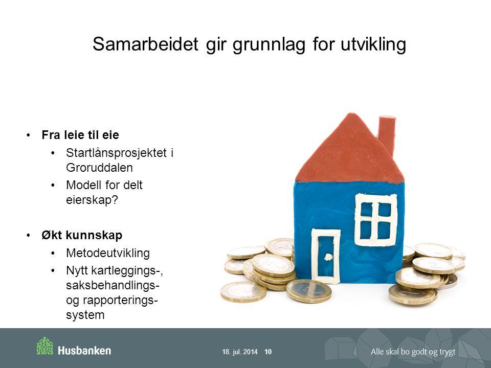 18.jul. 2014 10 Fra leie til eie Startlånsprosjektet i Groruddalen Modell for delt eierskap.