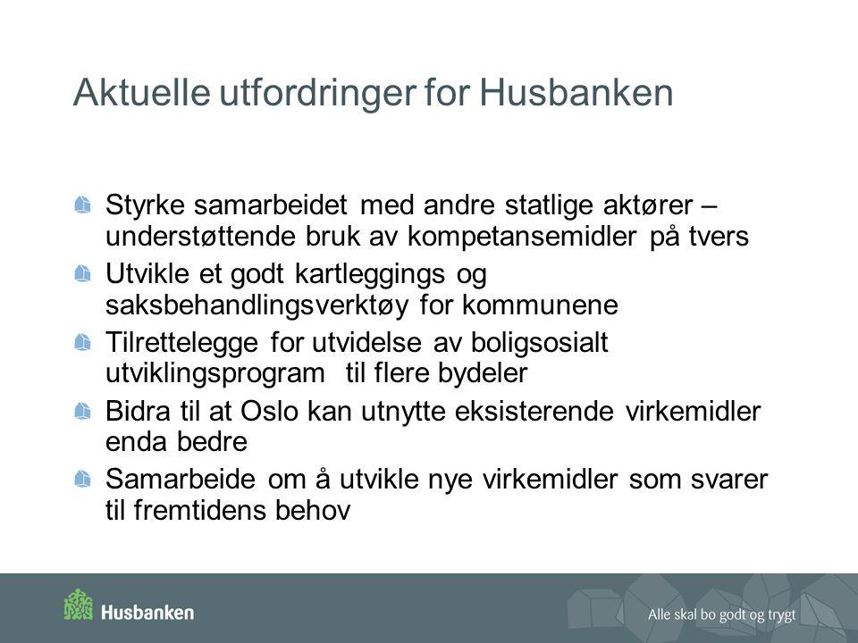 Aktuelle utfordringer for Husbanken Styrke samarbeidet med andre statlige aktører – understøttende bruk av kompetansemidler på tvers Utvikle et godt kartleggings og saksbehandlingsverktøy for kommunene Tilrettelegge for utvidelse av boligsosialt utviklingsprogram til flere bydeler Bidra til at Oslo kan utnytte eksisterende virkemidler enda bedre Samarbeide om å utvikle nye virkemidler som svarer til fremtidens behov