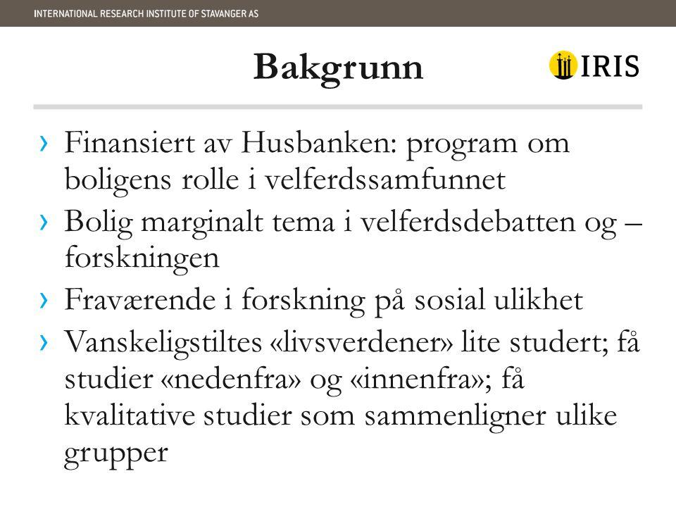 Bakgrunn › Finansiert av Husbanken: program om boligens rolle i velferdssamfunnet › Bolig marginalt tema i velferdsdebatten og – forskningen › Fravære