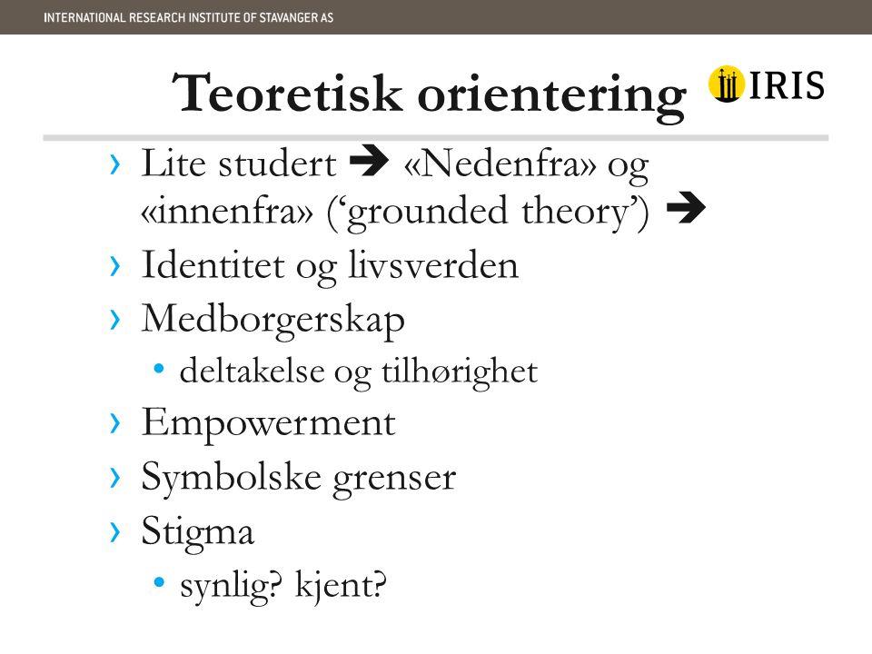 Teoretisk orientering › Lite studert  «Nedenfra» og «innenfra» ('grounded theory')  › Identitet og livsverden › Medborgerskap deltakelse og tilhørig