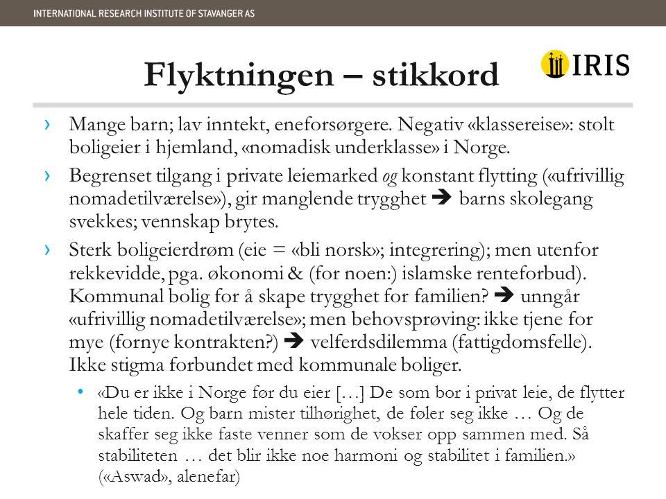 Flyktningen – stikkord › Mange barn; lav inntekt, eneforsørgere. Negativ «klassereise»: stolt boligeier i hjemland, «nomadisk underklasse» i Norge. ›