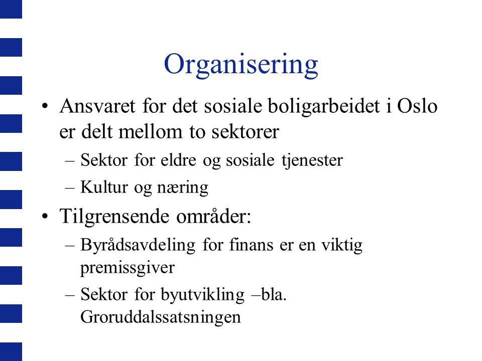 Organisering Ansvaret for det sosiale boligarbeidet i Oslo er delt mellom to sektorer –Sektor for eldre og sosiale tjenester –Kultur og næring Tilgren