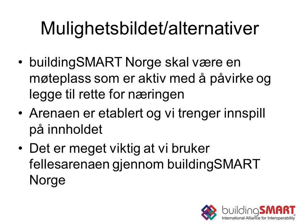Mulighetsbildet/alternativer buildingSMART Norge skal være en møteplass som er aktiv med å påvirke og legge til rette for næringen Arenaen er etablert