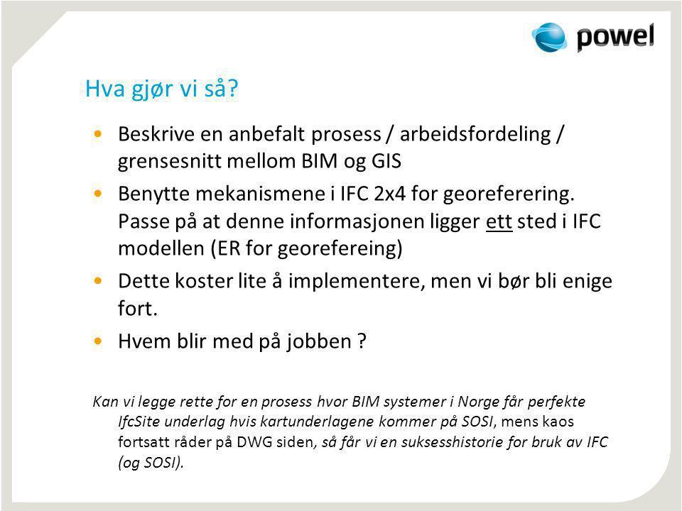 Hva gjør vi så? Beskrive en anbefalt prosess / arbeidsfordeling / grensesnitt mellom BIM og GIS Benytte mekanismene i IFC 2x4 for georeferering. Passe