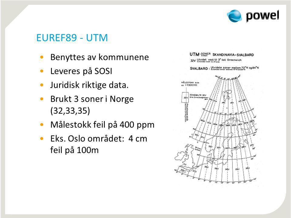 EUREF89 - NTM Laget av Statens Kartverk for entreprenørene 26 soner (5-30) Max målestokkfeil 11 ppm Max 1.1 mm pr 100 m Leveres ikke på SOSI Gratis Dll for transformasjon til program leverandører Implementert i GEMINI