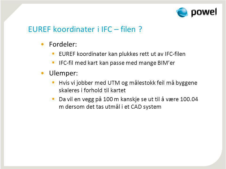 EUREF koordinater i IFC – filen ? Fordeler:  EUREF koordinater kan plukkes rett ut av IFC-filen  IFC-fil med kart kan passe med mange BIM'er Ulemper