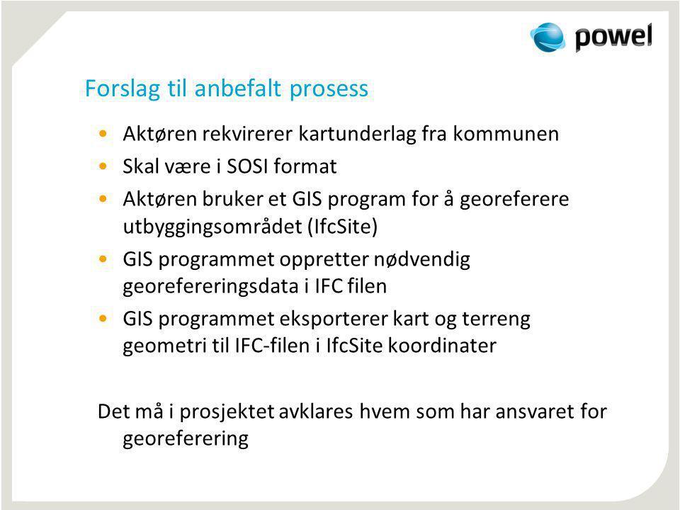 Forslag til anbefalt prosess Aktøren rekvirerer kartunderlag fra kommunen Skal være i SOSI format Aktøren bruker et GIS program for å georeferere utby