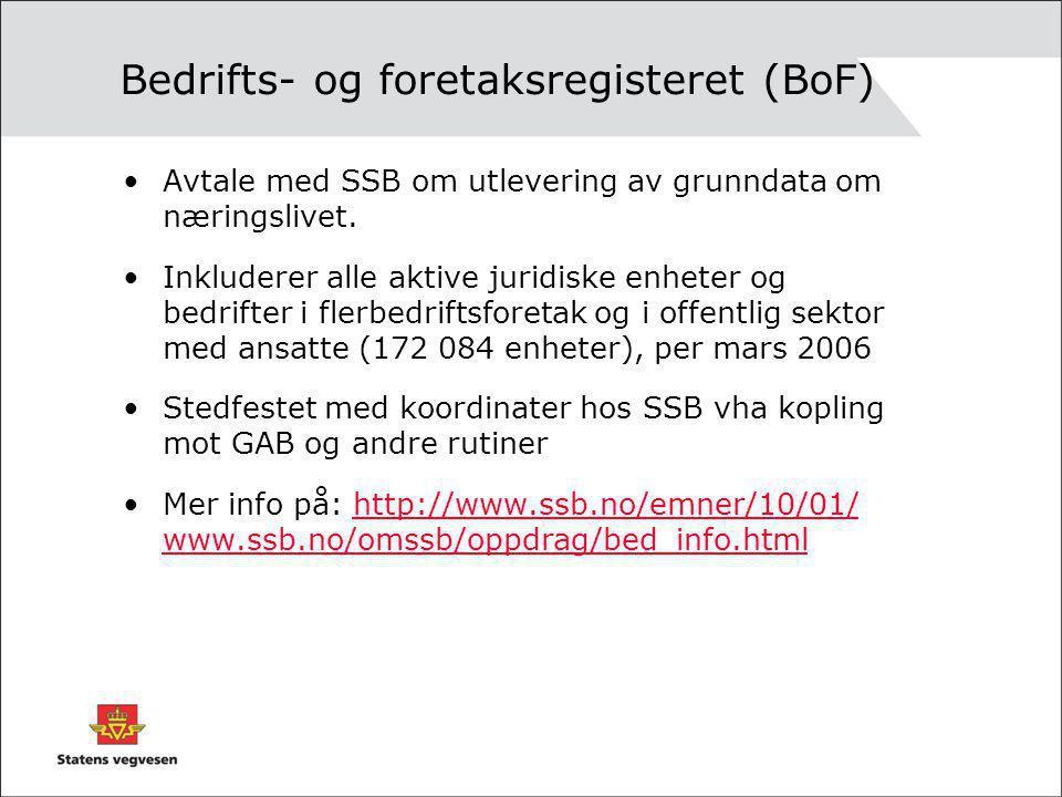 Bedrifts- og foretaksregisteret (BoF) Avtale med SSB om utlevering av grunndata om næringslivet. Inkluderer alle aktive juridiske enheter og bedrifter