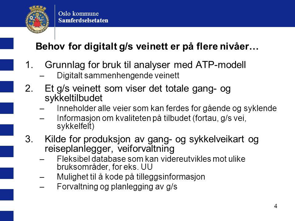 4 Oslo kommune Samferdselsetaten 1.Grunnlag for bruk til analyser med ATP-modell –Digitalt sammenhengende veinett 2.Et g/s veinett som viser det totale gang- og sykkeltilbudet –Inneholder alle veier som kan ferdes for gående og syklende –Informasjon om kvaliteten på tilbudet (fortau, g/s vei, sykkelfelt) 3.Kilde for produksjon av gang- og sykkelveikart og reiseplanlegger, veiforvaltning –Fleksibel database som kan videreutvikles mot ulike bruksområder, for eks.