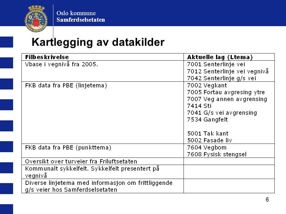 7 Oslo kommune Samferdselsetaten Detaljeringsnivå Senterlinjer av vei skal danne geometrigrunnlaget, men hvilket detaljeringsnivå.