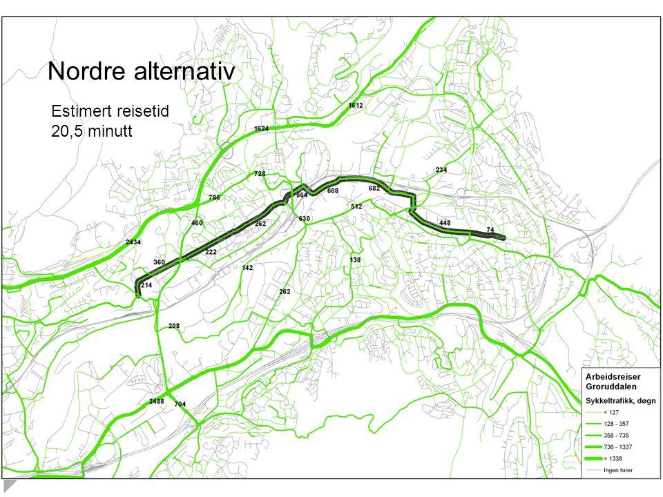 Nordre alternativ Estimert reisetid 20,5 minutt