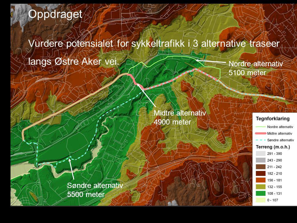 Oppdraget Vurdere potensialet for sykkeltrafikk i 3 alternative traseer langs Østre Aker vei.