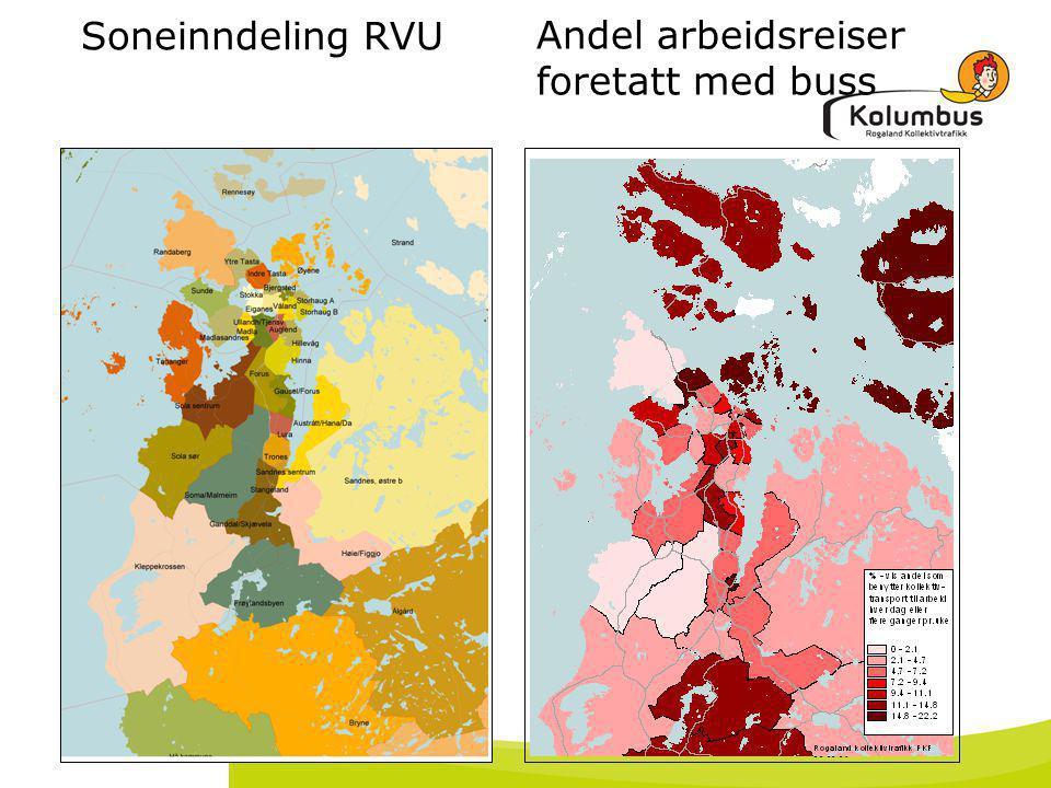 18. juli 2014 Soneinndeling RVU Andel arbeidsreiser foretatt med buss