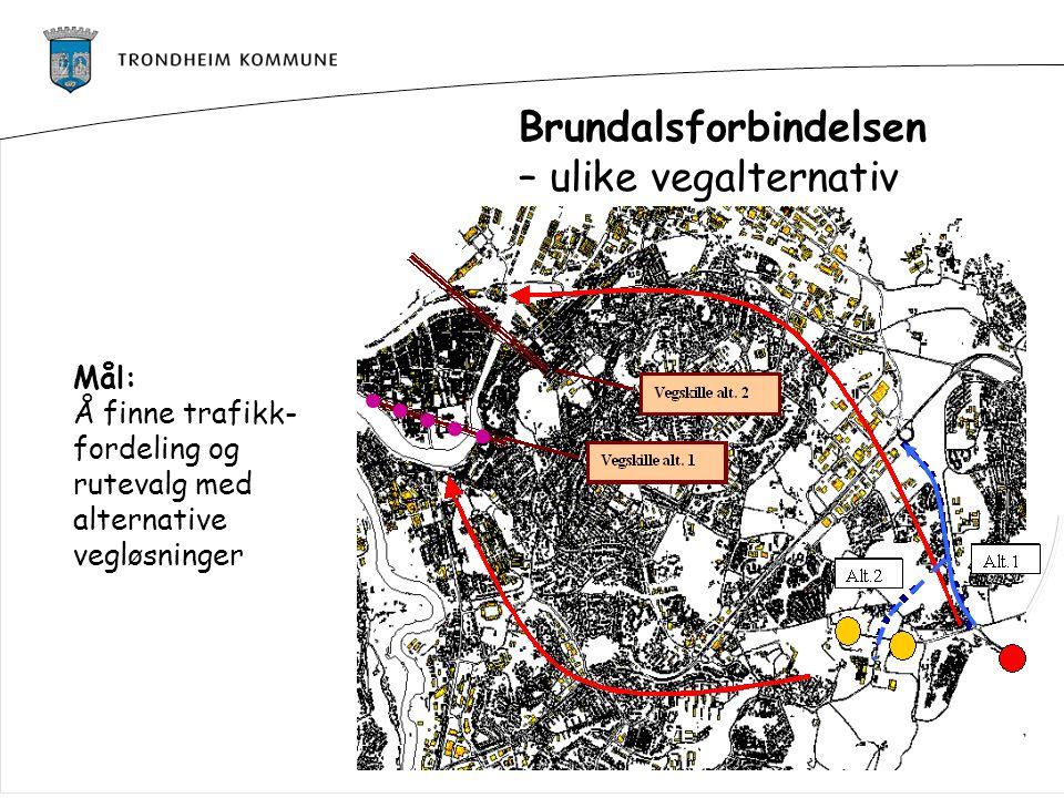 Brundalsforbindelsen – ulike vegalternativ Mål: Å finne trafikk- fordeling og rutevalg med alternative vegløsninger