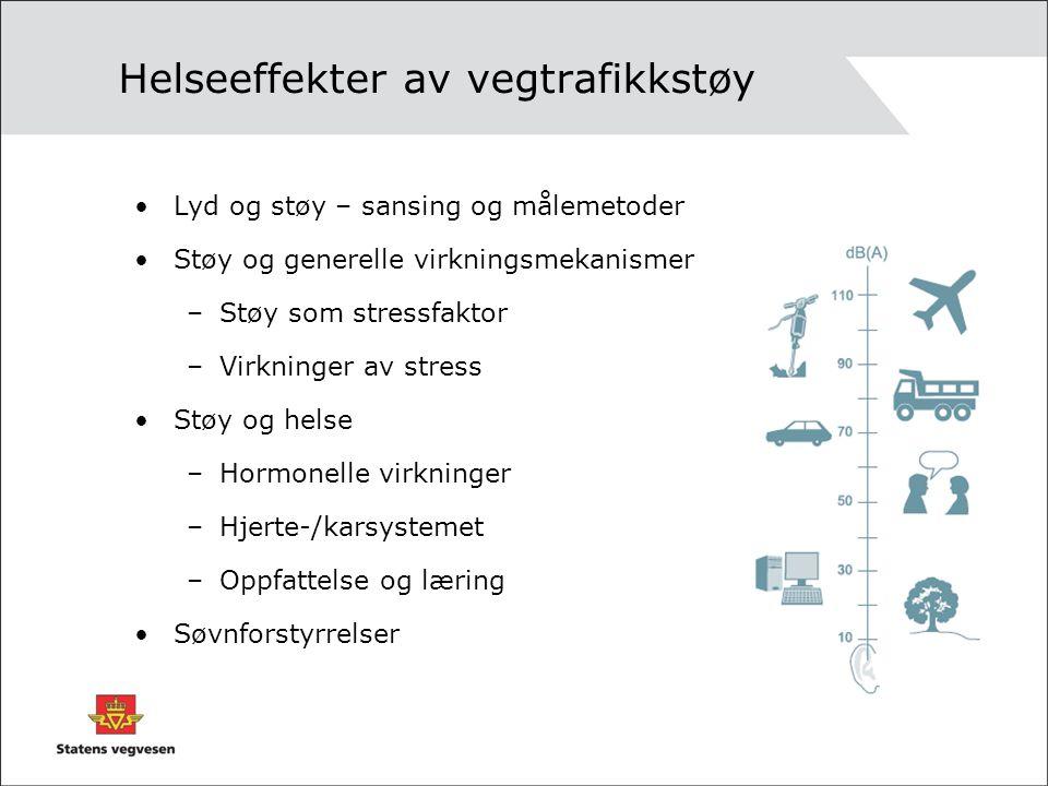 Helseeffekter av vegtrafikkstøy Lyd og støy – sansing og målemetoder Støy og generelle virkningsmekanismer –Støy som stressfaktor –Virkninger av stres