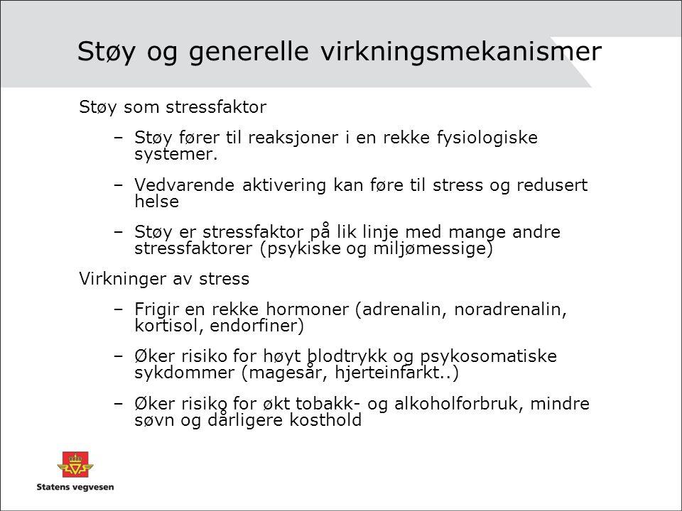 Støy og generelle virkningsmekanismer Støy som stressfaktor –Støy fører til reaksjoner i en rekke fysiologiske systemer. –Vedvarende aktivering kan fø