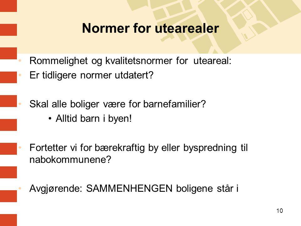 10 Normer for utearealer Rommelighet og kvalitetsnormer for uteareal: Er tidligere normer utdatert? Skal alle boliger være for barnefamilier? Alltid b