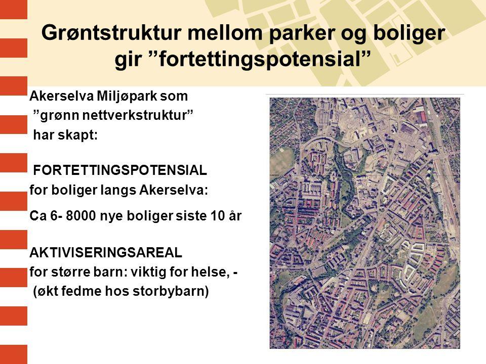 """11 Grøntstruktur mellom parker og boliger gir """"fortettingspotensial"""" Akerselva Miljøpark som """"grønn nettverkstruktur"""" har skapt: FORTETTINGSPOTENSIAL"""