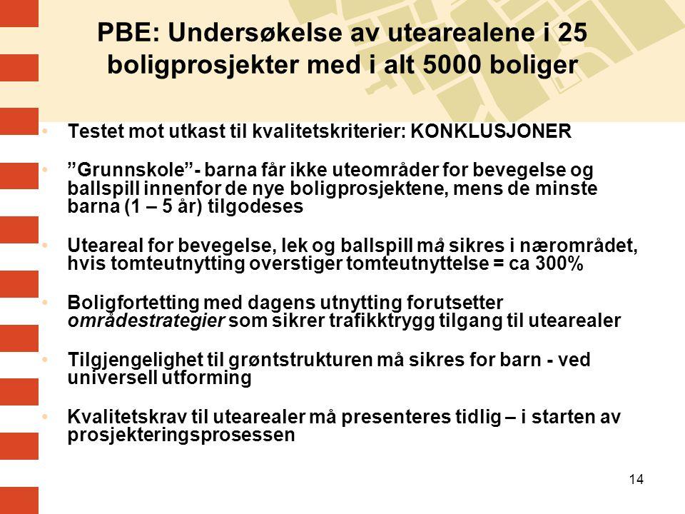 """14 PBE: Undersøkelse av utearealene i 25 boligprosjekter med i alt 5000 boliger Testet mot utkast til kvalitetskriterier: KONKLUSJONER """"Grunnskole""""- b"""