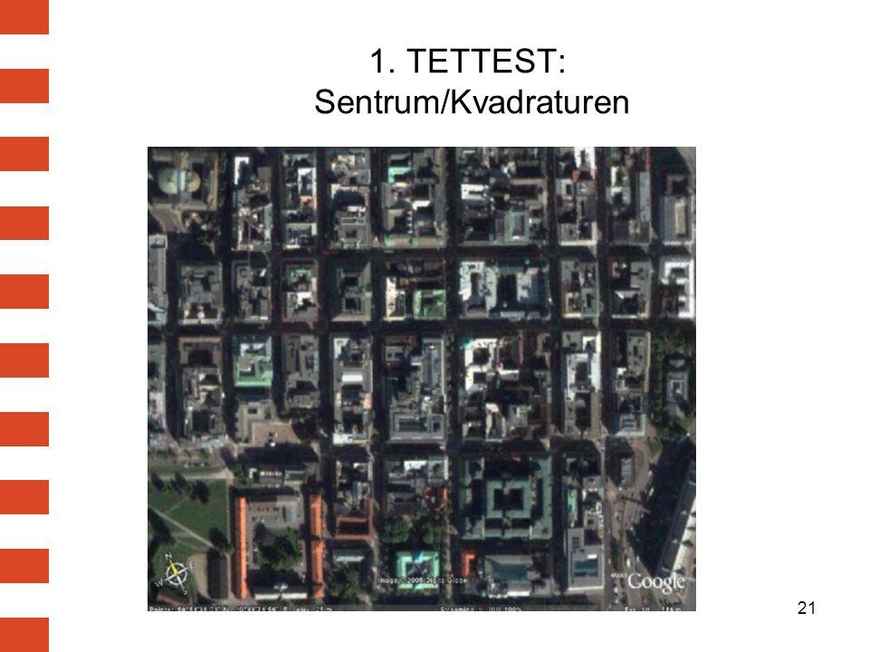 21 1. TETTEST: Sentrum/Kvadraturen