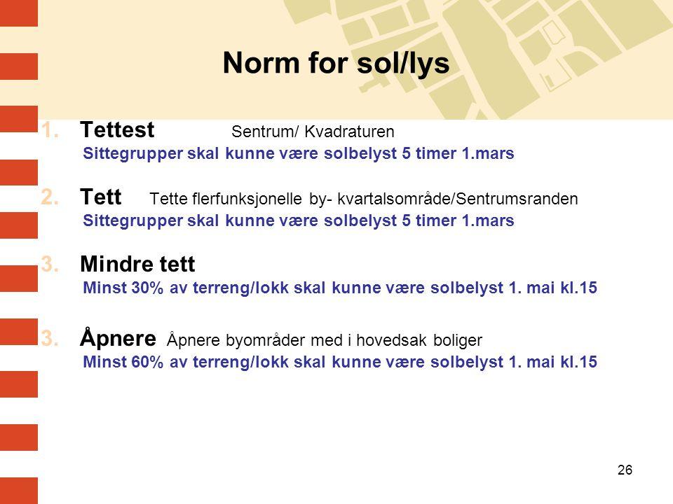 26 Norm for sol/lys 1.Tettest Sentrum/ Kvadraturen Sittegrupper skal kunne være solbelyst 5 timer 1.mars 2.Tett Tette flerfunksjonelle by- kvartalsomr