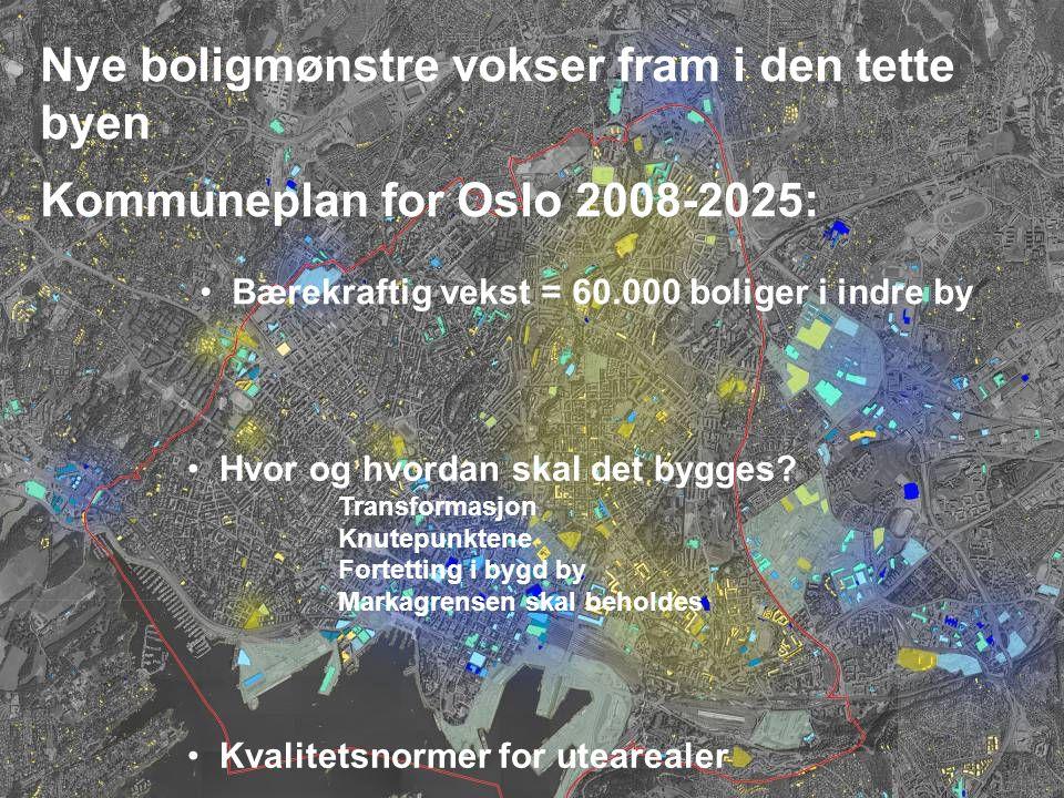 3 Nye boligmønstre vokser fram i den tette byen Kommuneplan for Oslo 2008-2025: Bærekraftig vekst = 60.000 boliger i indre by Hvor og hvordan skal det