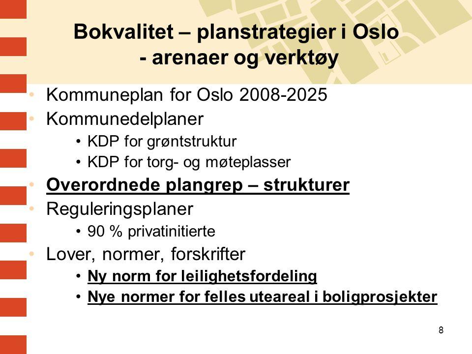 8 Bokvalitet – planstrategier i Oslo - arenaer og verktøy Kommuneplan for Oslo 2008-2025 Kommunedelplaner KDP for grøntstruktur KDP for torg- og møtep