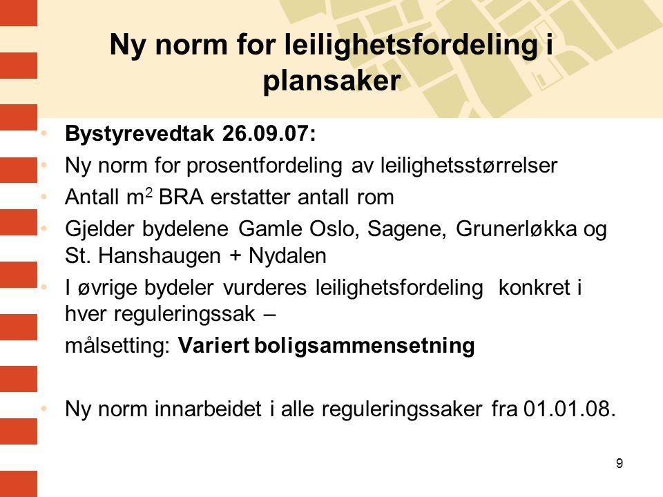 9 Ny norm for leilighetsfordeling i plansaker Bystyrevedtak 26.09.07: Ny norm for prosentfordeling av leilighetsstørrelser Antall m 2 BRA erstatter an